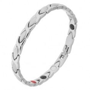 Náramek z oceli stříbrné barvy, lesklé a matné články, magnety SP30.03
