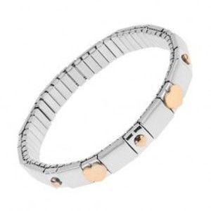 Náramek z oceli stříbrné barvy, lesklé a matné pásky, kuličky, srdce S84.16
