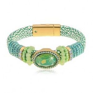 Náramek zelené barvy s hadím vzorem, velký broušený ovál, korálky a šňůrky Z45.17