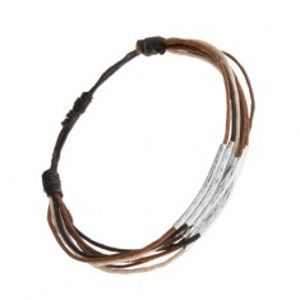 Náramek ze šňůrek černé, hnědé, skořicové a béžové barvy, proužky z oceli Q20.17