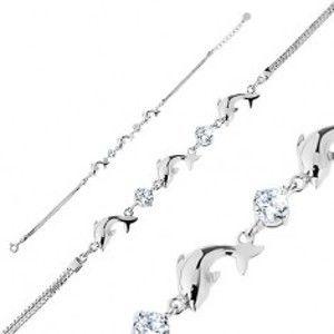 Náramek ze stříbra 925, dvojitý řetízek, lesklí delfíni, čiré blýskavé zirkonky R37.2
