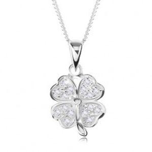 Nastavitelný náhrdelník - stříbro 925, čtyřlístek zdobený čirými zirkony SP56.26
