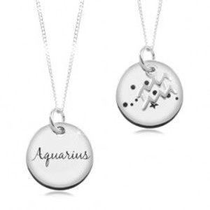 Nastavitelný náhrdelník, stříbro 925, řetízek a kruhová známka - znamení VODNÁŘ SP14.27