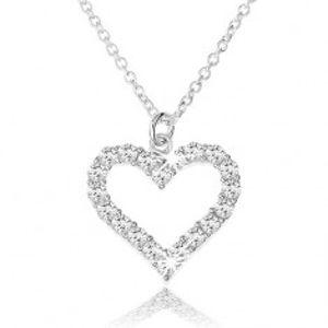 Nastavitelný náhrdelník ze stříbra 925, zirkonová kontura souměrného srdce SP39.28