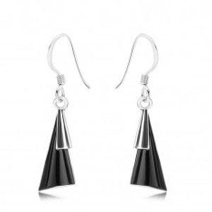Náušnice - stříbro 925, afro háčky, vypouklé trojúhelníky, černý kámen SP89.27