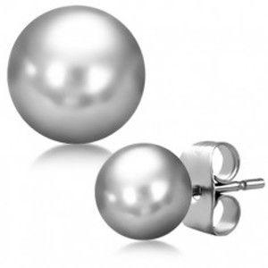 Náušnice, lesklá kulička stříbrné barvy z chirurgické oceli W23.13
