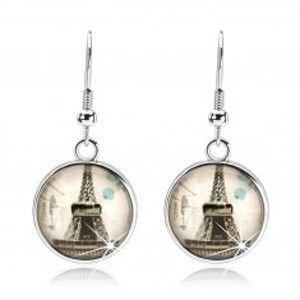 Náušnice s čirým vypouklým sklem, Eiffelova věž, béžový podklad SP73.26
