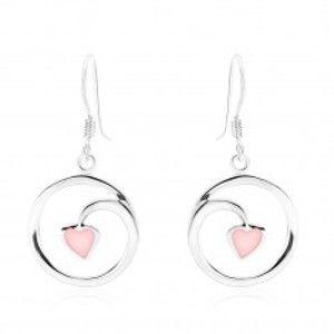 Náušnice, stříbro 925, kontura kruhu - spirála, srdíčko, růžová perleť SP89.22