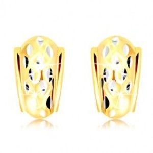 Náušnice ve 14K zlatě - atypický oblouk se zrníčky z bílého zlata GG218.53