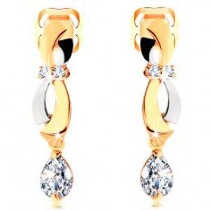 Náušnice ve 14K zlatě - dvoubarevné obloučky, visící zirkonová slza GG105.01
