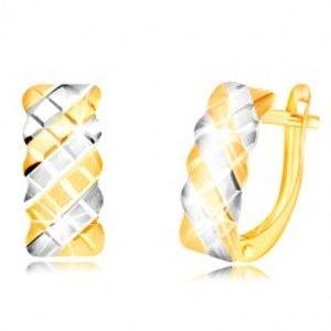 Náušnice ve 14K zlatě - matný oblouk zdobený dvojbarevnou mřížkou GG218.01