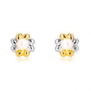 Náušnice v kombinovaném zlatě 585 - dvoubarevný květ s perlou uprostřed GG37.29