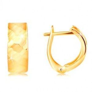Náušnice ve žlutém 14K zlatě - blýskavý povrch s vybroušenými ploškami GG217.02