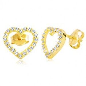Náušnice ve žlutém 14K zlatě - obrys srdce zdobený čirými zirkony GG20.13
