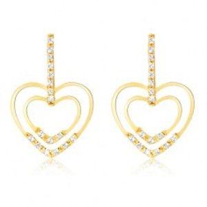 Náušnice ve žlutém 14K zlatě - pruh zirkonů, lesklé obrysy srdcí, kamínky GG11.57