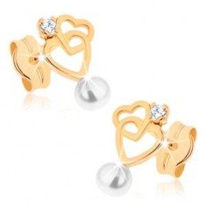 Náušnice ve žlutém 9K zlatě - dvě kontury srdcí, čirý zirkon, bílá perlička GG80.12