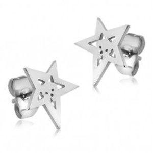 Náušnice z chirurgické oceli, kontura hvězdy s lebkou S15.07