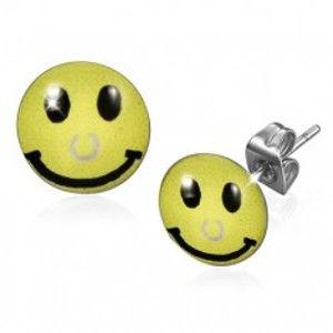 Náušnice z chirurgické oceli, žlutý smajlík s piercingem S11.13