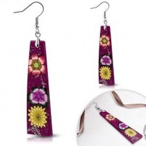Náušnice z hmoty Fimo - fialové obdélníky, květy a třpytky S16.09
