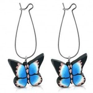 Náušnice z hmoty FIMO, modročerný motýl A12.08