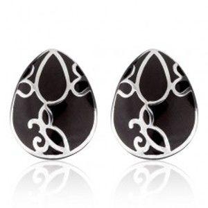 Náušnice z oceli - černá slza s ornamentem AA11.02