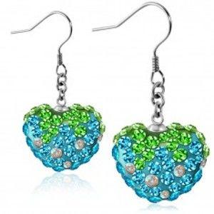 Náušnice z oceli 316L - třpytivé modro-zelené zirkonové srdce, afro háčky S25.20