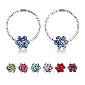 Náušnice ze stříbra 925, tenký kruh s kvítkem ze Swarovského krystalů - Barva: Růžová