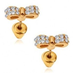 Náušnice zlaté barvy, třpytivé zirkonové pánské motýlky Q21.09