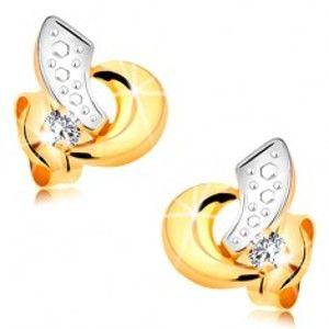 Náušnice ze 14K zlata - dvoubarevné obloučky a blýskavý zirkonek čiré barvy GG177.06