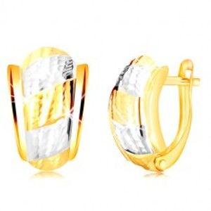 Náušnice ze 14K zlata - nesouměrný oblouk s pásy a ozdobnými zářezy GG218.52