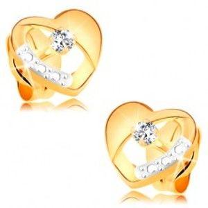 Náušnice ze 14K zlata - souměrné dvoubarevné srdíčko s diamantem a výřezem BT177.27