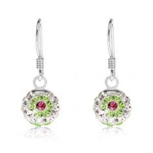 Bílé náušnice ze stříbra 925, zelenorůžové květy, Preciosa krystaly, 8 mm SP84.25
