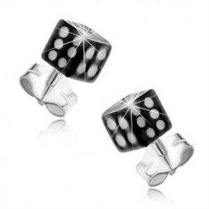 Náušnice ze stříbra 925, černá hrací kostka, bílé tečky, puzetky I36.12