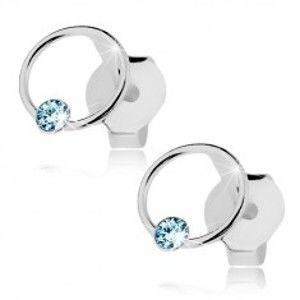 Náušnice ze stříbra 925, kroužek s krystalem Swarovski světle modré barvy I36.28