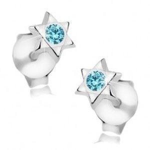 Náušnice ze stříbra 925, lesklá šesticípá hvězda, modrý krystalek Swarovski I38.18
