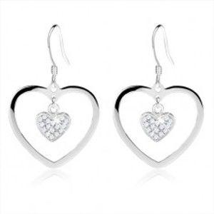 Náušnice ze stříbra 925, obrys srdce s menším zirkonovým srdíčkem SP45.19