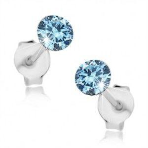 Náušnice ze stříbra 925, kulatý Swarovského krystal světle modré barvy, 4 mm I39.05