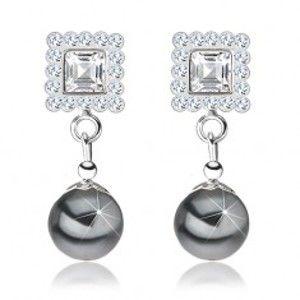 Náušnice ze stříbra 925, čtverec zdobený šedými krystaly, šedá perla I39.30