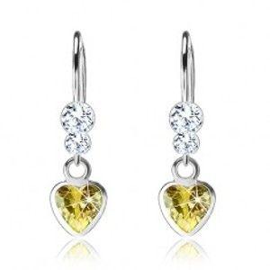Náušnice ze stříbra 925, zirkonové srdce, dva čiré krystalky Swarovski I30.28