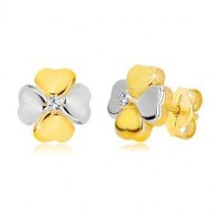 Náušnice ze zlata 585 - dvoubarevný čtyřlístek pro štěstí se zirkonem GG36.29