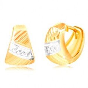Náušnice ze zlata 585 - zaoblený trojúhelník, šikmé rýhy, pás bílého zlata GG217.22
