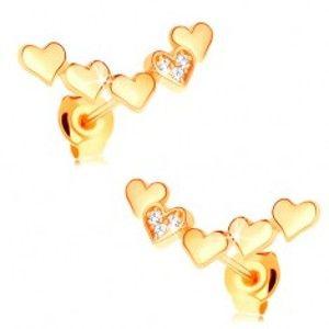 Náušnice ze žlutého 14K zlata - oblouk z pospojovaných vypouklých srdíček GG114.08