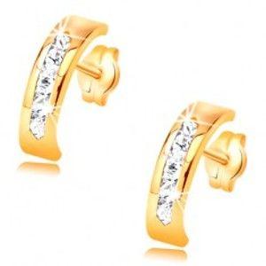 Náušnice ze žlutého 14K zlata - oblouk zdobený linií čirých zirkonů GG34.13