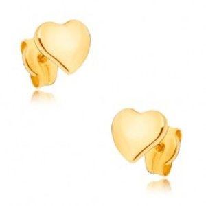 Náušnice ze žlutého 9K zlata - ploché zrcadlově lesklé nesouměrné srdce GG33.07