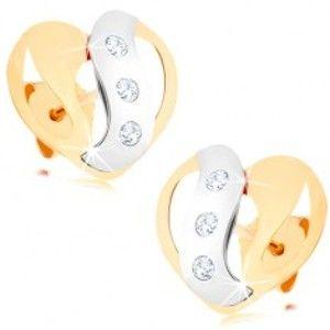 Náušnice ze žlutého a bílého 9K zlata - dvoubarevné srdce s výřezy a zirkony GG57.14
