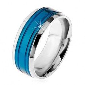 Prsten z chirurgické oceli, modrý pás, lemy stříbrné barvy, zářezy, 8 mm M08.13