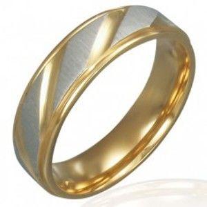 Prsten z oceli - zlato-stříbrný, diagonální rýhování K11.8
