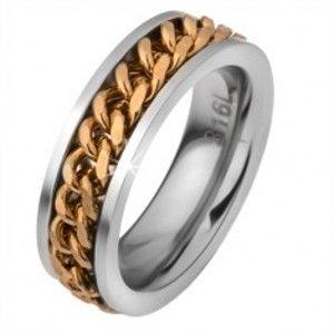 Ocelový prstýnek s pohyblivým řetízkem zlaté barvy BB01.15