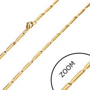 Ocelový řetízek ve zlatém odstínu, lesklé podlouhlé válečky, 3 mm Z28.12