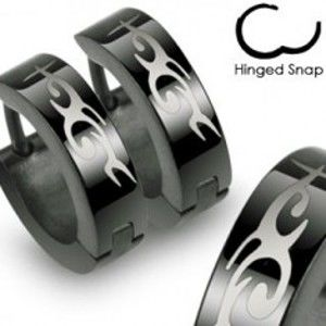Ocelové černé náušnice s kloubovým zapínáním, motiv Tribal X15.04
